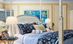 Barbara Ostrom incorporated both Robert Allen and Beacon Hill fabrics into an epic master bedroom. Photography Credit: Phillip Ennis