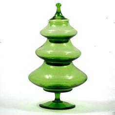 Empoli Italian Green Glass Christmas Tree Candy Jar Vintage Art Glass