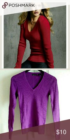 🌹CUTE🌹Sweater Size M 100% Cotton sweater bought off Victoria's Secret website. Gently worn and in great shape. Pretty purple color. V neck. Stretches! Moda International Sweaters V-Necks