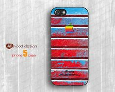 NEW iphone 5 cases case for iphone 5  iphone 5 cover red blue colorized metal styel apple logo design printing. $14.99, via Etsy.