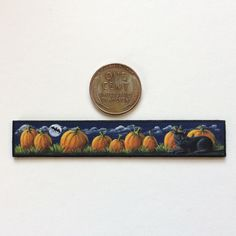 (International Guild of Miniature Artisans). Every line and detail, however small, was done with a paintbrush! Would make a great addition to any dollhouse or miniatures collection! Pumpkins, Folk Art, Artisan, Miniatures, Cats, Painting, Black, Gatos, Popular Art