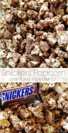 Popcorn Recipe - U Create Snickers Popcorn recipe! Dessert recipe with only 3 ingredients! Dessert recipe with only 3 ingredients! Popcorn Snacks, Candy Popcorn, Flavored Popcorn, Gourmet Popcorn, Popcorn Recipes, Candy Recipes, Sweet Recipes, Homemade Popcorn, Popcorn Balls