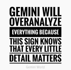 Gemini will over analyze everything Gemini Sign, Gemini Love, Gemini Quotes, Gemini Woman, Zodiac Signs Gemini, Gemini And Cancer, Zodiac Quotes, Zodiac Facts, My Zodiac Sign