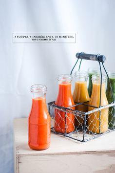 3 SOUPES, 5 INGRÉDIENTS, 30 MINUTES !Soupe tomate-ail-poivrons rôtis, soupe courge-carotte-pomme, soupe fanes de carotte-mâche-poire