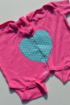 Twin Girl Baby Onesies Hot Pink Heart Applique by ThisPlaidShirt