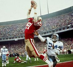 """One of the most famous plays in NFL history, Dwight Clark's leaping, fingertip touchdown grab of a Joe Montana pass — forever known as """"The Catch"""" — gave the 49ers a 28-27 lead over the Cowboys with just 51 seconds on the clock in the NFC Championship on Jan. 10, 1982. San Francisco would go on to win the game and the Super Bowl. (Walter Iooss Jr./SI) GALLERY: NFL's Best Conference Championship Games"""