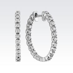 Double Sided Round Diamond Hoop Earrings in White Gold from Shane Co.