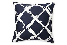 Fenced 16x16 Pillow, Navy Blue on OneKingsLane.com
