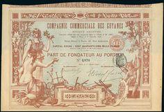 Compagnie Commerciale des Guyanes SA. Part de Fondateur. Paris, 1.10.1898