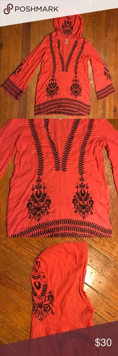 Lightweight Red Embroidered Tunic Free People This is the perfect summer staple! This Tunic is incredibly light weight, has a hood to help shade sun kissed scalps, and also features a gorgeous embroidered design throughout! It is in nearly new condition and has zero snags, stains, or tears. Offers welcome! Free People Dresses Mini