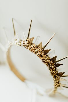 House of Ollichon loves.custom made gold and crystal crown bridal accessory by Amaroq Design. A Moody, Gothic-Inspired Wedding in a Vermont Birch Grove. Gold Wedding Crowns, Wedding Headband, Bridal Tiara, Wedding Jewelry, Wedding Veils, Bridal Headpieces, Wedding Hair, Gold Weddings, Indian Weddings