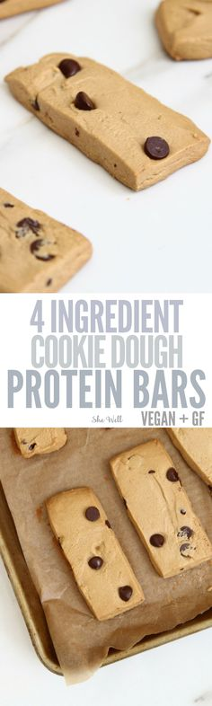 Easy to Make Cookie Dough Protein Bars! These homemade protein bars are simple to make and perfect for people who are vegetarian, vegan or gluten-free! Click to read now or pin for later!