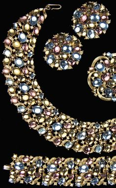 Trifari 'Alfred Philippe' 'Jewels of Fantasy' Gold Swirls and Multicolour Mirrored Cabochons Necklace Bracelet Pin and Clip Earrings Set
