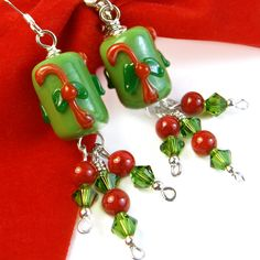 Candy Cane Christmas Earrings Green Crystal Red Coral Sterling Silver | PrettyGonzo - Jewelry on ArtFire