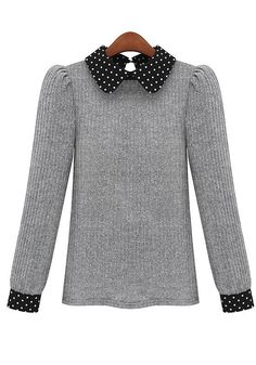 Grey Patchwork Peter Pan Collar Wool Blend Sweater