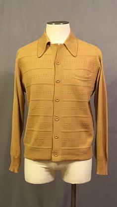 1970s Italian Knit Cardigan Sweater | Mustard-Brown | L