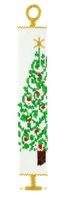 At a customer's request to design a peyote Christmas Tree Bracelet, Glenda accepted the challenge and presents her first peyote graph design! Instructions include peyote basics, how to read a chart an