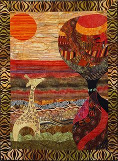 "African challenge quilt - This is titled: ""She has the Whole World on Her Head"" African Quilts, African Textiles, African Fabric, African Colors, African Theme, African American Art, African Art, Landscape Quilts, Applique Quilts"