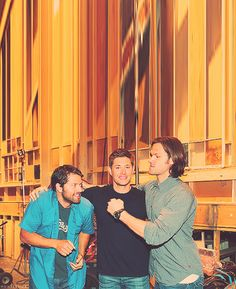 """J2M. I love how Misha is being weird, Jared is being tough or something, and Jensen is just like, """"This is what I deal with all the time."""""""
