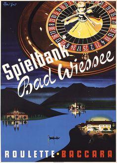German Casino - Kaiser. Spielbank Bad Wiessee. Offset 1957. Size: 33 x 23.6 in. (84 x 60 cm). Printer: Karl Knörzer, München.