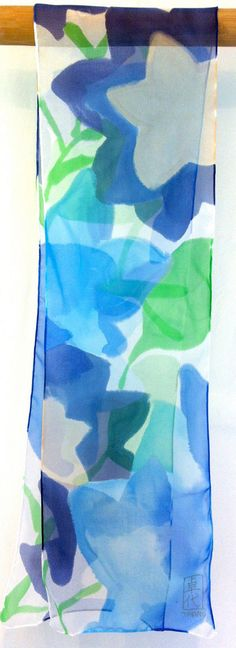 Hand Painted Silk Scarf, Blue Silk Scarf, Summer Ocean Blue Stella Scarf, Summer Scarf, Silk Chiffon, Silk Scarves Takuyo. 8x50 inches. Made to order. This is a made to order item. Your new scarf will be recreated and will be shipped within 7 business days from the date of your