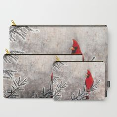 """The Red Cardinal in winter"" Carry-All Pouches by Savousepate on Society6 #pouch #purse #clutch #bag #watercolor #painting #redcardinal #bird #snow #frost #grey #gray #black #red"
