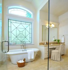 Bathroom design trend #1:Obscure glass, along with a beautiful sheer window shade or a leaded glass window done with milky translucent glass.