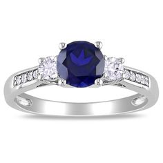 Miadora 10k White Gold Created Sapphire and Diamond 3-stone Ring   Overstock.com Shopping - The Best Deals on Gemstone