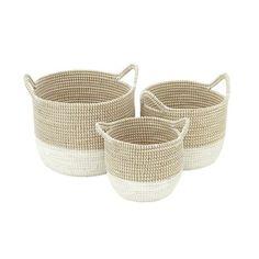 CosmoLiving by Cosmopolitan 3 Piece Seagrass Basket Set Metal Baskets, Large Baskets, Storage Baskets, Decorative Baskets, Rustic Baskets, Table Storage, Decorative Objects, Rattan Basket, Wicker