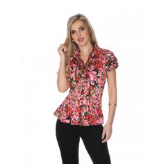3add8cc5ec Cathaya Women s Pink Red Flower Print Layered Short Sleeve Pleated Shirt  S-XL Pleated Shirt