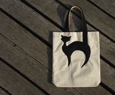 Cotton Tote with Black Cat - Applique Canvas Tote Bag - Natural Cotton Tote  - Shopping Tote - Market Bag - READY TO SHIP. $20.00, via Etsy.