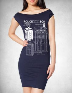 Tardis Blueprints T Dress american apparel S M L by GeekyU1, $21.99