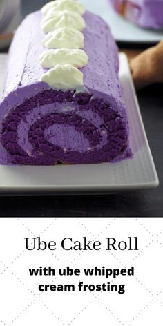 Ube Cake Roll is made of a soft ube flavored chiffon cake rolled and filled with ube whipped cream. It is a simple, heavenly ube cake dream! #purpleyam #ube #swissrolls | Woman Scribbles