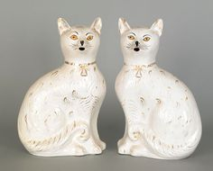 "Seated Cats. White Cats with Gold Wisps Seated. Circa Late-19th Century. 13-1/2""."