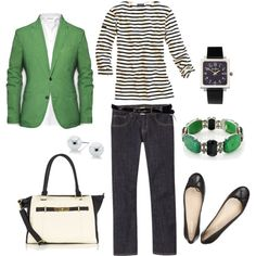 "Looks like lots of blazers for fall...  ""Green and Black"" by bluehydrangea on Polyvore with jeans"