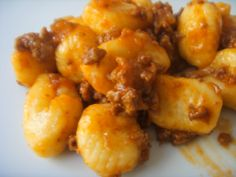 Potato Gnocchi with sausage sauce