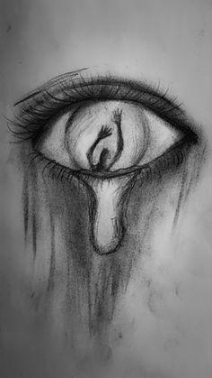 #draw #drawings #eyes #black #white #pencilart #charcoaldrawing #pencildrawings #tear #teardrop #sad #shadow Art Drawings Sketches Simple, Dark Art Drawings, Pencil Art Drawings, Drawings With Meaning, Cute Love Drawings, Pencil Sketches Easy, Pencil Sketching, Shadow Drawing, Drawing Eyes