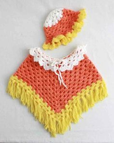 """Watch Maggie review this cute Candy Corn Poncho and Hat Set! Design by: Maggie Weldon Skill Level: Easy Size: Hat: 17-19"""" in diameter; Poncho: X-Small (24 mo) – 19-20"""" chest; Small (2-4) – 21-24"""" ches"""