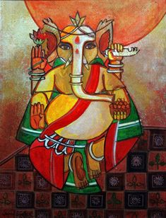 Ganesha by Gouri Bhowmik Lord Ganesha Paintings, Spiritual Paintings, Ganesha Art, Jai Ganesh, Hindu Dharma, Indian Art Paintings, Madhubani Painting, Hindu Art, Indian Gods