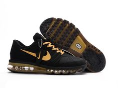 Nike Air Max 2017 Men Black Gold Shoes have a fashion and beautiful design! They are very popular among the young and Nike Air Max 2017 Men sneaker collectors! More than fashion,Nike Air Max 2017 are comfortable for your all-day wearing! Nike Air Max Tn, Nike Air Max 2017, Cheap Nike Air Max, Cheap Air, Black Sports Shoes, Black And Gold Shoes, Black Gold, Gold Top, Max Black