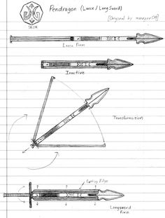 Original concept by RWBY Weapon Sketch 'Pendragon' Dungeons And Dragons Homebrew, D&d Dungeons And Dragons, Lance Weapon, Rwby Oc, Sword Design, Drawing Exercises, Weapon Concept Art, Fantasy Weapons, Knives And Swords