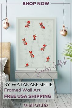 FREE USA SHIPPING A stunning canvas print from Vintage painter Watanabe Sietie. #Goldfishart #fishart #fishcanvasprint #watanabesietie #vintagejapaneseart #vintagejapanesepainting #vintagejapaneseillustration Japanese Wall Art, Japanese Painting, Japanese Design, Bedroom Canvas, Bedroom Artwork, Work In Japan, Cherry Blossom Painting, Unique Paintings, Fish Art