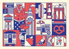 New York / London Postcard set on Behance New York Illustration, Graphic Design Illustration, Graphic Art, London Postcard, Postcard Design, Geometric Art, Graphic Design Inspiration, Illustrations Posters, Drawings