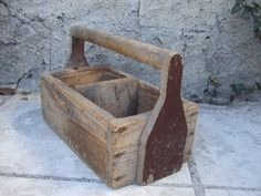 Vintage French country rustic old wooden tool box.
