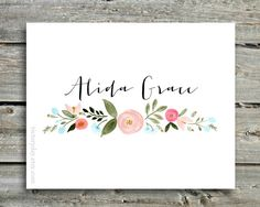 Custom Name print of watercolor wreath painting por VictoryDay