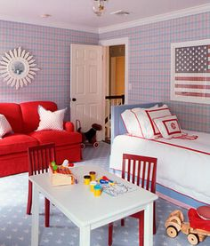 red white and blue patriotic boys room