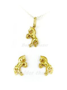 14K Gold Pendant and Earrings Set by BaldorJewelry on Etsy