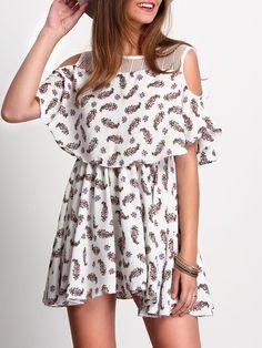 Open Shoulder Print Layered Dress
