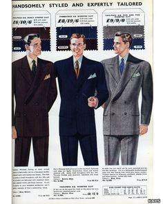 Fashion for men in 1952: a classic post-war suit. After years of wartime austerity, by golly glamour returned to Britain in the 1950s! With clothes rationing ending in 1949, the post-war gentleman may have sported a suit with wide trousers and accompanying turn-ups.