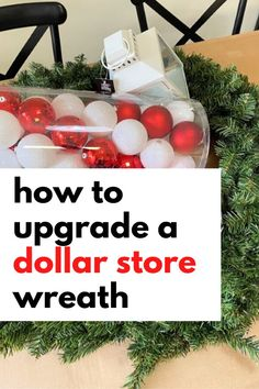 Quick Christmas wreath for front door on a budget. Make over a plain dollar store holiday wreath easy Christmas craft DIY. Decorate you living room or entryway on a budget with this cheap Christmas wreath idea. #wreath #christmas #dollarstore Dollar Store Christmas, Cheap Christmas, Natural Christmas, Easy Christmas Crafts, Simple Christmas, Xmas, Christmas Wreaths For Front Door, Holiday Wreaths, Holiday Ideas